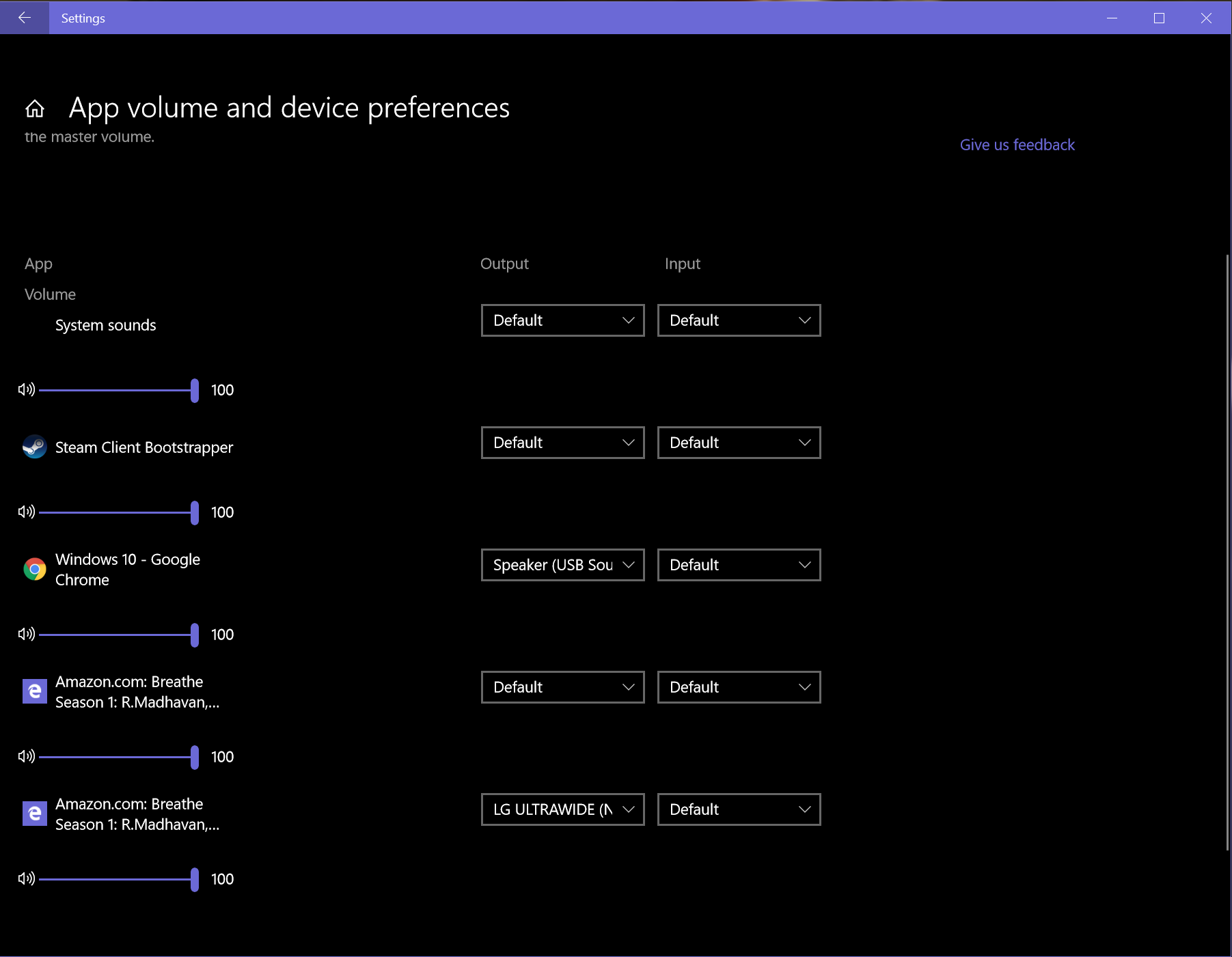 App Volume and Device Preferences Setting ,Windows 10 new feature