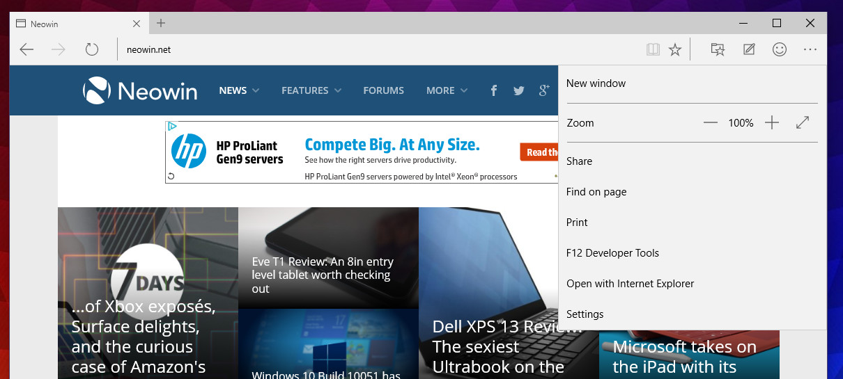 Windows 10 build 10051: Spartan gets the option to open pages in IE
