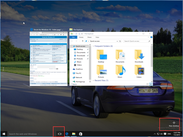 Windows 10 multiple desktops and split screen