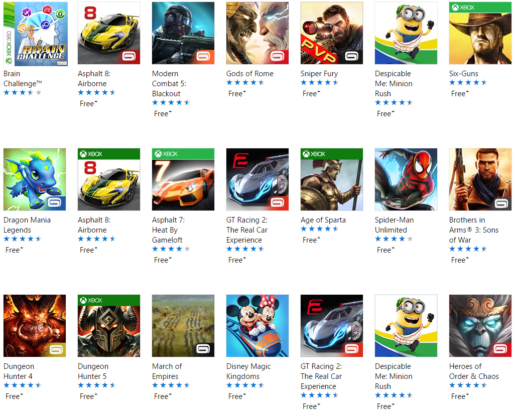 The Most Popular Gameloft Games in Windows 10 Store